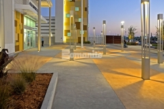 Bomanite Integral Color was incorporated into the decorative concrete paving at the Tanger Outlets Daytona and because the color added into the mix is uniform throughout the depth of the concrete, the color will remain that same as the concrete wears.