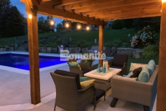 Bomanite Revealed Exposed Aggregate decorative concrete was the product of choice to provide a durable and slip resistant pool deck with the added bonus of creating a highly decorative appearance that complements the design taste of the homeowner.
