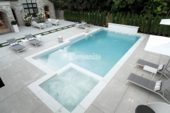 Bomanite Sandscape Refined was the product of choice to create a pool deck and patio with the durability needed for busy backyard entertaining and the low maintenance requirements desired for this relaxation space.