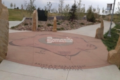 We installed over 3,400 SF of Bomanite Sandscape Texture decorative concrete at Centennial Center Park to create an architectural concrete finish with consistent texture and durability, which provided an ideal surface for the sandblasted graphics and text that display the informational content throughout the park.