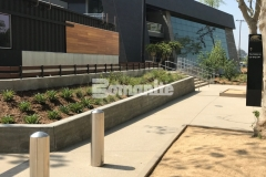 Bomanite Sandscape Texture decorative concrete was installed here to create the pedestrian entrances and walkways around the LAFC Banc of California Stadium, adding a durable hardscape surface with consistent texture.