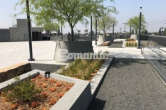 Bomanite Exposed Aggregate Sandscape Texture was utilized here to create a distinctive finish on these lineal planters and circular tree planters, adding detail and beautiful design aesthetic to this rooftop garden space.