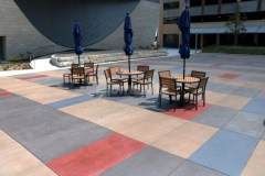 Beautiful, bold colors were incorporated into this Bomanite Sandscape Texture decorative concrete to add a unique, artistic touch to the hardscape surface for added visual interest.