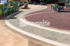 This beautiful hardscape was created using Bomanite stamped concrete with multiple Bomacron patterns that all come together flawlessly to add distinctive design detail to this decorative concrete hardscape.