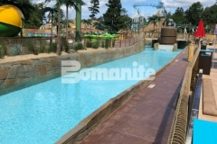 The Bomanite Bomacron Boardwalk pattern was used here to create a durable stamped concrete decking surface that adds dimension and texture to the lifeguard walk at this outdoor water park.