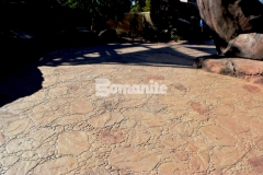 Bomanite Sand Integral Color was used as the base color along with Autumn Brown and Forest Brown Color Hardeners to create this Bomacron Garden Stone stamped concrete hardscape that will provide protection from the outdoor elements and durability to stand up to the toughest traffic loads.
