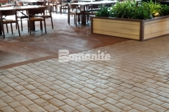 The Bomanite Belgium Block imprinted concrete featured here was installed in a meticulous manner that created consistency and uniformity in the hardscape surface that corresponds well with the natural design aesthetic and rustic environment at the Gaylord Rockies Resort & Convention Center.
