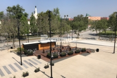 """Bomanite stamped concrete was expertly installed here by our colleague, Bomel Construction Company, using the Bomacron 11.5"""" Boardwalk pattern to create a contrasting gray walkway that adds charm and character to the Northwest Plaza entrance at LAFC Stadium."""