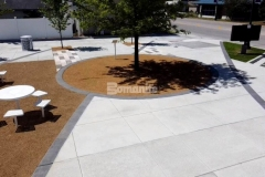 Stunning Cobblestone Gray stamped concrete was installed here using the Bomanite Bomacron Sandstone Texture pattern, providing a beautiful accent to the surrounding hardscape surfaces, while creating definition and delineation at Owasso's Redbud Festival Park.