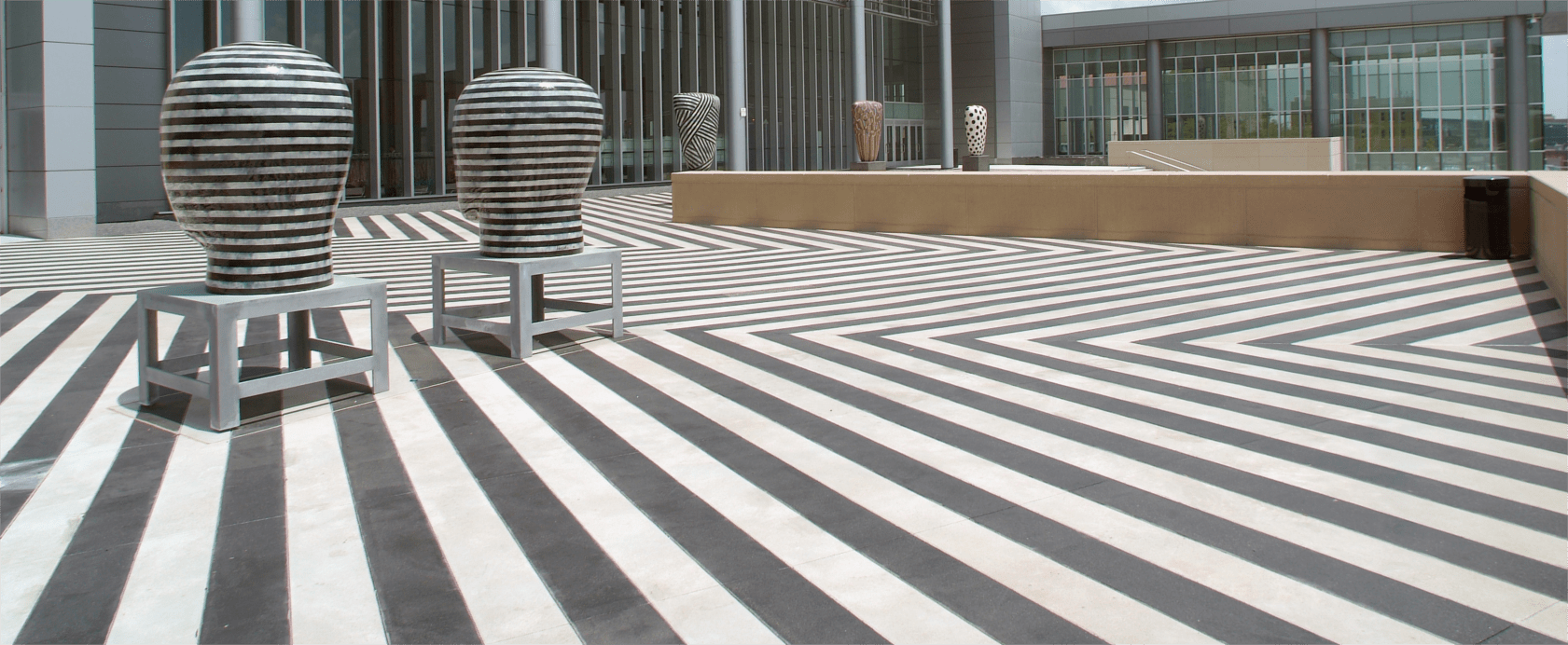Bomanite Exposed Aggregate Systems, Sandscape Texture with Bomanite Con-Color, Bartle Hall Ballroom Water Plaza in Kansas City by Musselman & Hall Contractors